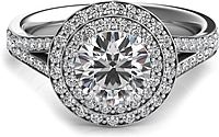 Double Row Round Halo Split Shank Engagement Ring