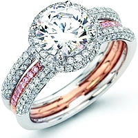 Simon G. Pink & White Pave Diamond Ring