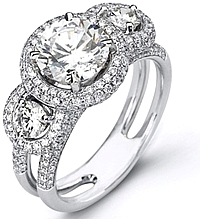 Simon G Three Stone Diamond Pave Engagement Ring