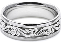 Tacori Mens Wedding Band With Hand Engraved Scroll Work -7.5mm