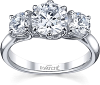Vatche Three Stone .50ct Crown Engagement Ring